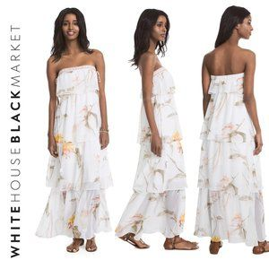 White House Black Market Strapless Floral Tiered M